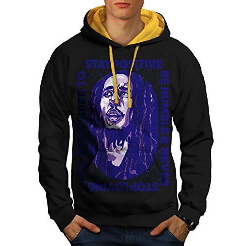 Marley Free Soul Stay Positive Men NEW S Contrast Hoodie   Wellcoda (Stay Positive Hoodie compare prices)