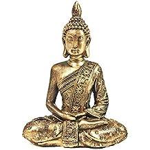 "Bellaa 28526 8"" Buddha Statue Thai Meditating Peace Harmony Sculptures Golden Brown"