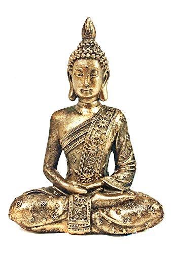 - Bellaa 28526 Buddha Statue Sitting Dhyana Mudra Gold 8 inch