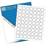 """1"""" Circle Labels (100 Sheets) - Blank White Matte - 63 Labels Per Sheet - Inkjet/Laser Compatible - Online Labels"""