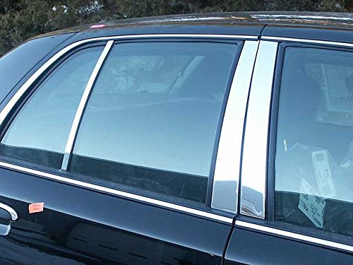 QAA FITS CROWN VICTORIA 1998-2010 FORD (6 Pc: Stainless Steel Pillar Post Trim Kit, 4-door) PP32481
