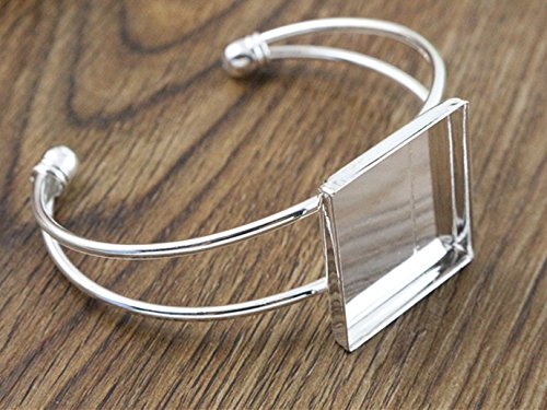 25mm Silver Plated Square Bangle Base Bracelet Blank Findings Tray Cameo Bezel Cabochon Setting - Setting Plated Silver