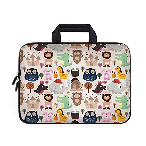 CANCA Kids Laptop Carrying Bag Sleeve,Neoprene Sleeve Case/Giraffe Crocodile Teddy Bear Elephant Bird Cartoon Toy Animals Castle Comic/for Apple MacBook Air Samsung Google Acer HP DELL Lenovo ASU