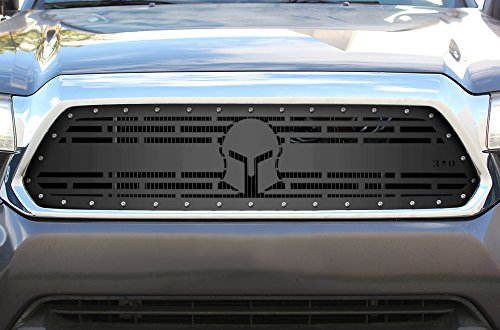 300 Industries Steel Grille Replacement for Toyota Tacoma 2012-2015 - Single Piece Powder Coated Satin Black - Spartan