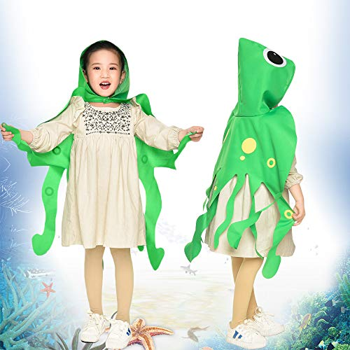 Toddler Kids Octopus Costume with Hat-Boys Girls Animal Dress Up DIY Cape Party Gifts