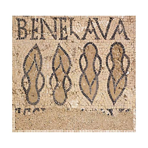 ArtEdge Mosaic from Villa's Entry Way Depicting Sandals and Words Bene Lava, Giclee Print, 24 x 24 in