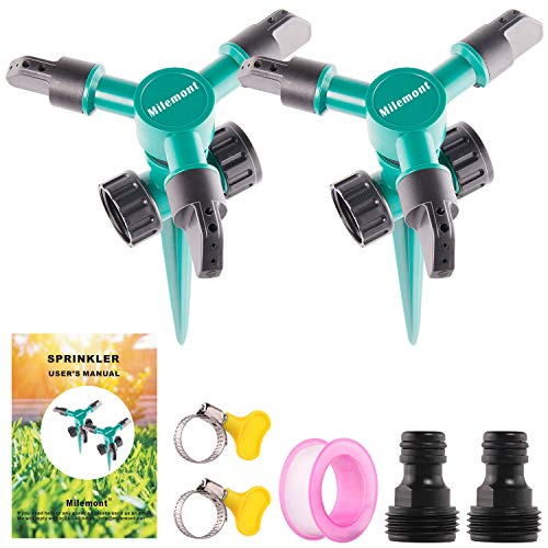 Milemont Garden Sprinkler Lawn Irrigation System 360 Degree Rotating Lawn Sprinkler Automatic Garden Water Sprinklers 2 Pack