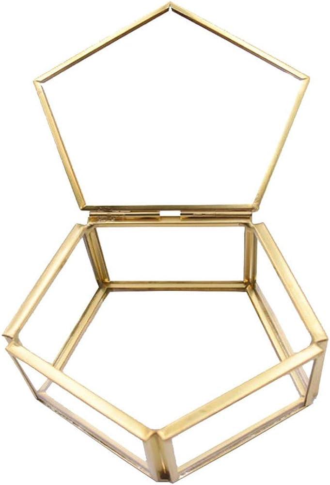 Caja del Anillo, Joyero, Joyas Caja Transparente de Cristal Forma Flor Habitaciones Box Anillo Caja de Regalo