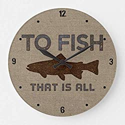 Moonluna to Fish Burlap Wall Clocks Battery Operated Wooden Clock Decorations for Kitchen 10 inches