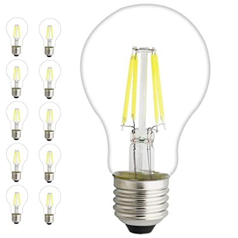 10 pieza LED filamento, Vintage de bombilla Classic, A60, cristal, color blanco