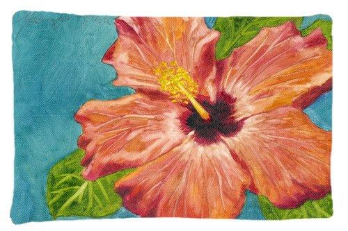 Caroline's Treasures TMTR0316PILLOWCASE Coral Hibiscus By Malenda Trick Fabric Pillowcase, Standard, (Hibiscus Pillow)