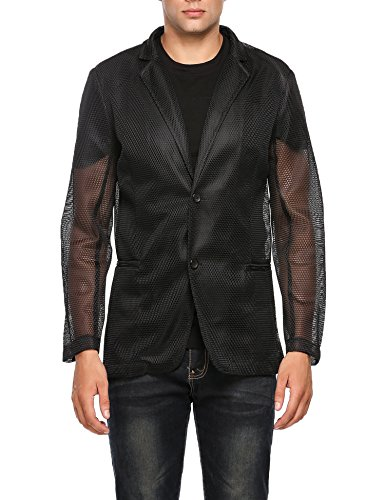 Coofandy Men's Fashion Casual Sexy Long Sleeve Slim See-through Mesh Hollow Blazer Jacket