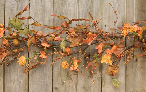 Fall Berry Garland - Harvest Garden Garland Fall Flowers Mini Pumpkins Leaves Berries Country Primitive Floral Décor