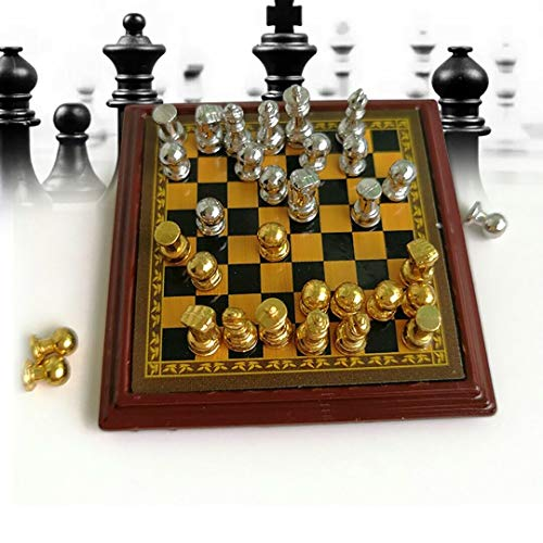 Miniature Metal Silver & Golden Chess and Board Set Play Game Dollhouse 1:12 Toy