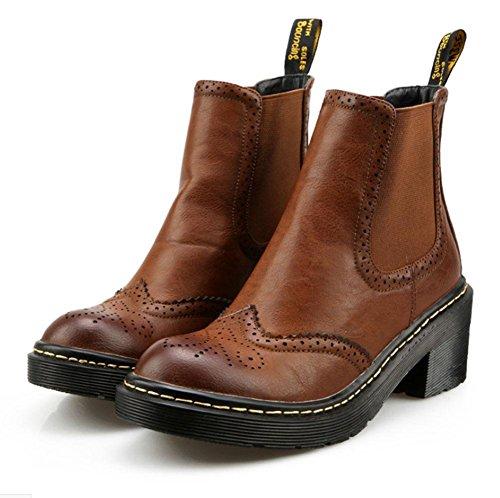 testa donna selvaggi stivali scarpe con tonda di all'estremità bassi tendini brown da stivaletti neve Block Martin plateau Stivali 56qEzxW