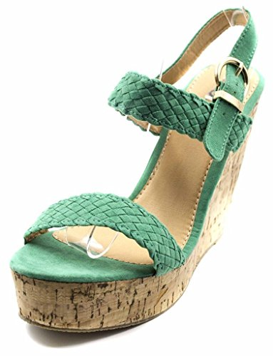 Azure Leather (Orly Shoes Women's 1121A Braided Top Cork Sandal Wedge in Azure Size: 10)
