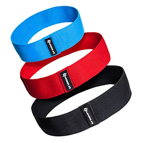 Mobilis Leg and Booty Exercise Resistance Bands: Cotton Elastic Fitness Band Set for Home Workout - 3 Pack