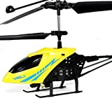 OWIKAR Mini RC Helicopter 2 Channel Remote Control Aircraft Micro Electric Airplane Model Toy for Kids Boys Girls 3 and Up with Red and Blue Lights Yellow
