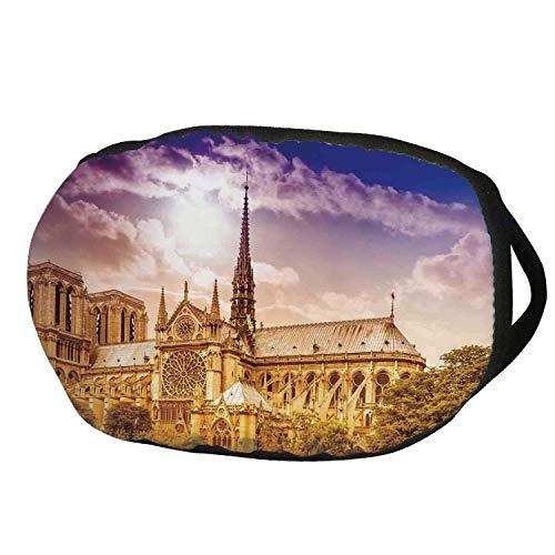 Fashion Cotton Antidust Face Mouth Mask,Paris Decor,Notre Dame Cathedral Paris Parisian Gothic Trees Forest Sunshines Cloudy Sky,for women & men -