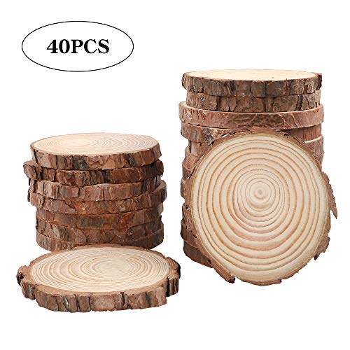 CEWOR Natural Wood Slices 40pcs 3.5-4.0 Inches Round Circles Unfinished Tree Bark Log Discs for Crafts Christmas Ornaments DIY Arts Rustic Wedding - Tree Natural Wood