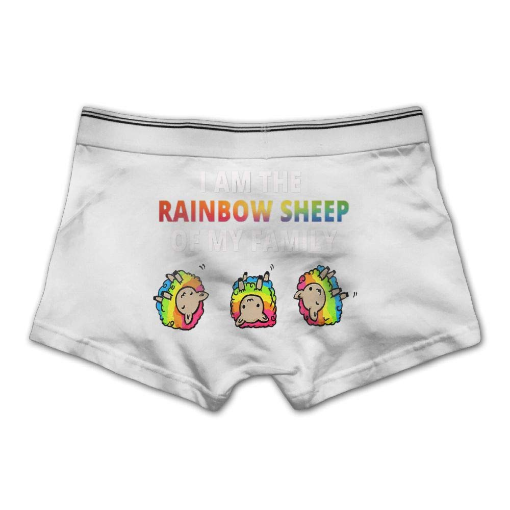Mens I Am The Rainbow Sheep of The Family Underwear Cotton Boxer Briefs Stretch Low Rise Trunks White