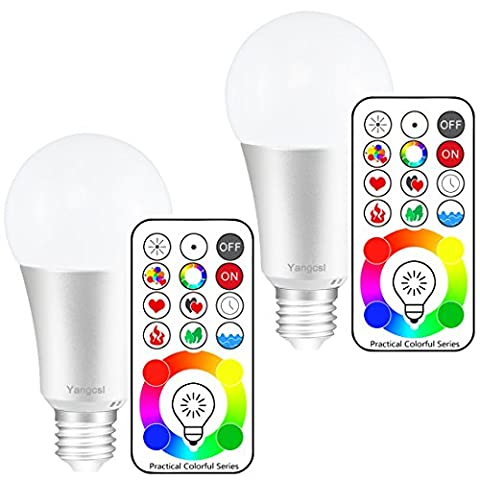 Yangcsl E26 Dimmable Color Changing LED Light Bulbs with Remote Control, Memory & 3-Way, Daylight White & RGB Multi Color, 60 Watt Equivalent (2 - 3 Color Led