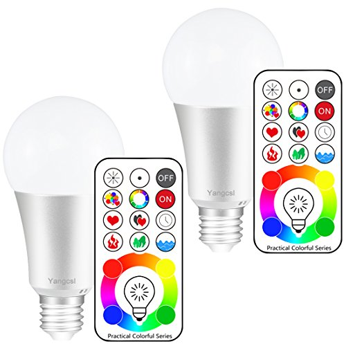 Yangcsl E26 Dimmable Color Changing LED Light Bulbs with Remote Control, Memory & 3-Way, Daylight White & RGB Multi Color, 60 Watt Equivalent (2 Pack) (Night Blacklight Incandescent Bulb)