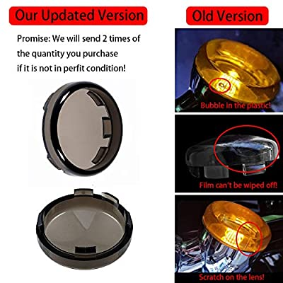 Amazicha Smoke Bullet Turn Signal Light Lens Covers Front Rear Compatible for Harley Davidson Sportster Softail Road King Street Electra Glide 1996-2020, 4 PCS: Automotive