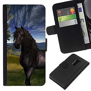 KingStore / Leather Etui en cuir / LG G2 D800 / Sky Horse Mustang Stallion Naturaleza Pintura