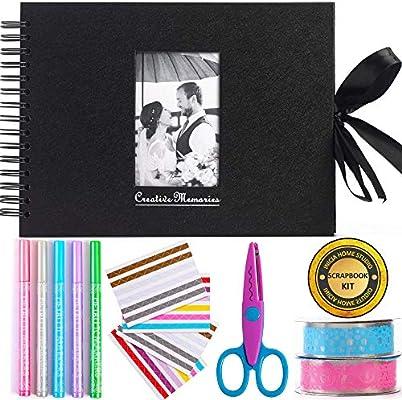 Álbum de fotos para álbumes de recortes Inicia, 80 páginas, kit con 5 bolígrafos metálicos, tijeras