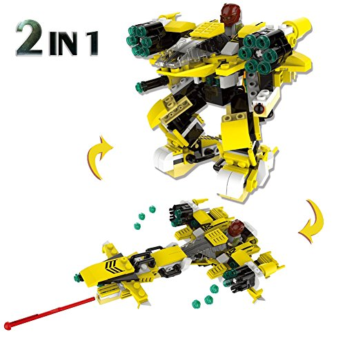 Freebex Children Building Blocks 2 In 1 Fun Space Marine Series Educational Toy Gifts  Yellow