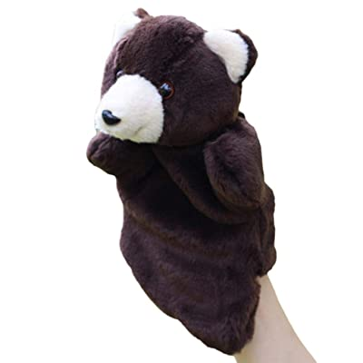Cuiedailqhb Cute Plush Bear Animal Hand Puppet Doll Intelligent Parent-Child Toy Kids Gift - Black: Toys & Games