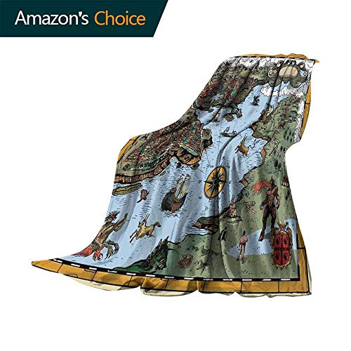 (Compass Personalized Blankets,Antique Map Rivers and Land Full of Monsters Pirates Giant Creatures Fantasy Art Lightweight Plush Throws for Chair Fall Winter Spring(60