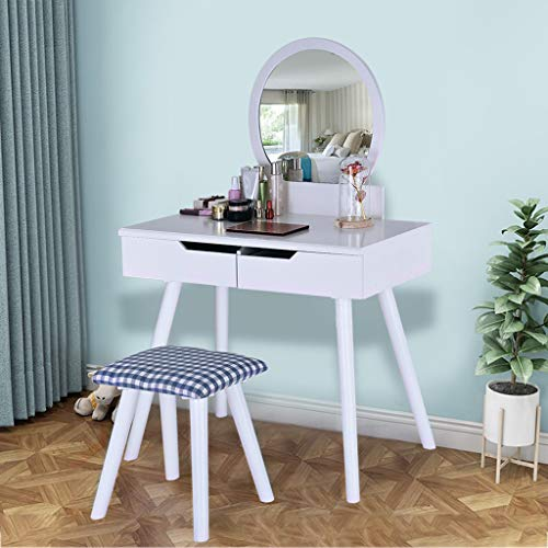 Maikouhai Vanity Table Beauty Dressing Makeup Table 1 Round Mirrors and 2 Large Sliding Organization Drawers Set for Jewelry, Cosmetics with 1 Wooden Cushioned Stool, 31.9x16.14 x50.78'' ()