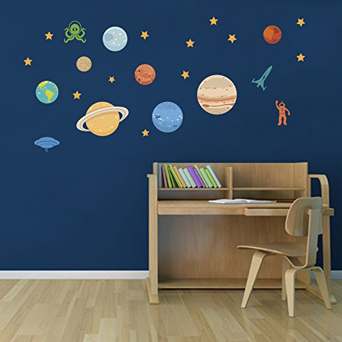 DecalMile Planets UFO Space Wall Stickers Stars Wall Decals Vinyl Wall Art Removable Wall Murals For Kids Children's Room Nursery Classroom