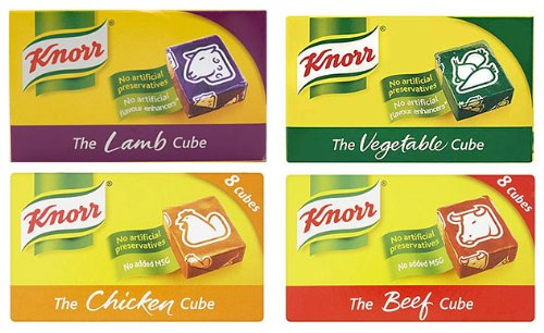 Knorr Stock Cubes Pack - 8 Lamb Knorr Cubes, 8 Beef Knorr Cubes, 8 Chicken Knorr Cubes, 8 Vegetable Knorr Cubes
