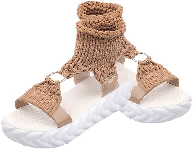 Darringls_Sandalias de Primavera Verano Mujer,Sandalias Mujer Verano Bohemia Zapatos Chanclas Planas Zapatillas de Playa Clip Sandalias de Punta Abierta Boho Beach Elastic Zapatillas de Estar: Amazon.es: Ropa y accesorios