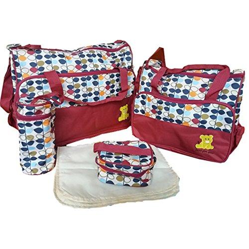 BigForest 5pcs/set Multifunction Large Capacity Baby Diaper Bag Nappy Changing Pad Travel Mummy Bag Tote Handbag Set Red