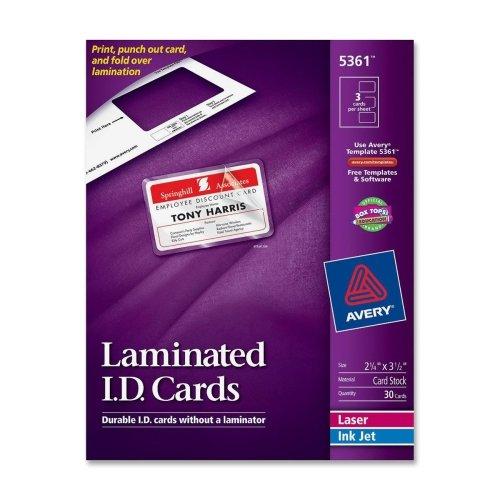 Avery Laminated I.D. Cards-Laminated Laser/Inkjet ID Cards, 2-1/4
