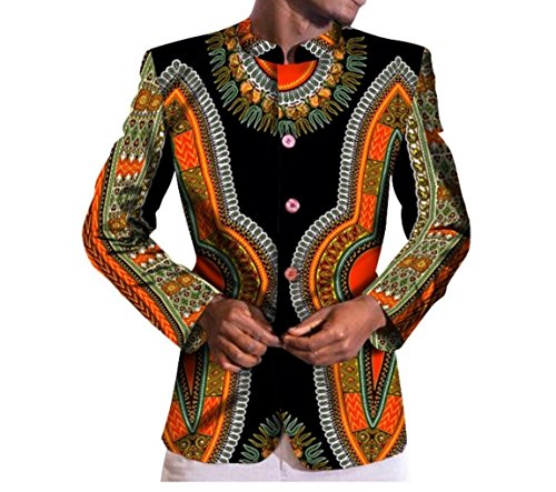 Small AGAING Blazer Outwear Color African Mulit Three Men's Dashiki Oversized rW0q71w0On