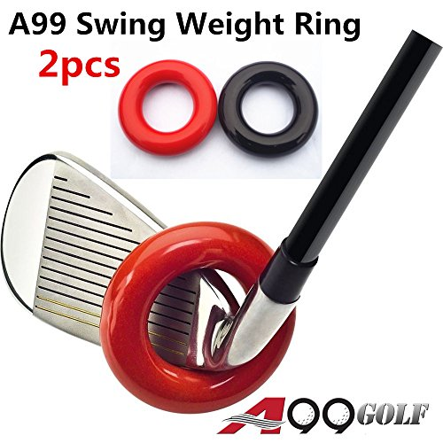 A99 Golf Club Weighted Swing Ring - Swing Warm-Up Tool, Warm Muscles (1 red + 1 Black)