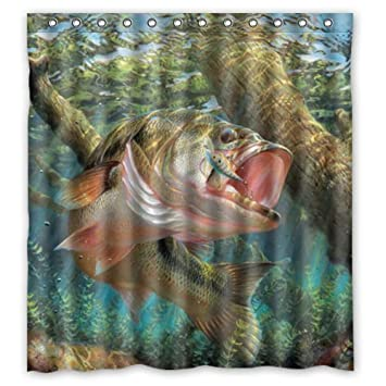 Waterproof Bathroom Large Mouth Bass Colorful Bling Jumping Out Of The Sea Shower Curtain To Fit