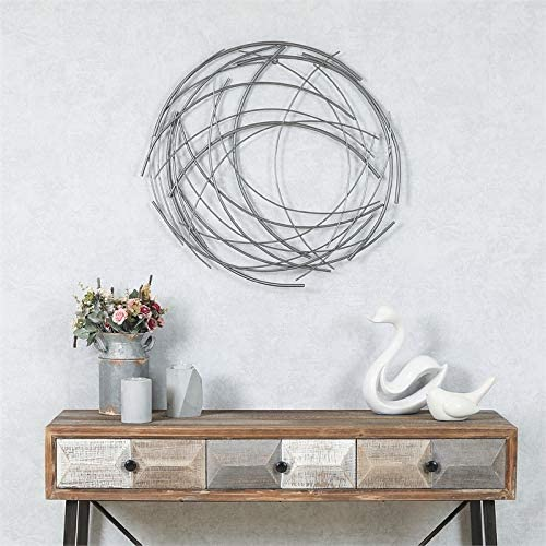 Pemberly Row Abstract Iron Sticks Round Wall Art