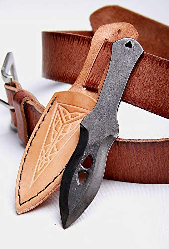 Toferner Hand Forged Knife- Brown Ideal for Knife Throwing- Marksmanship- Sports- Hand Made Genuine Leather Case- Polished & Hardened Blade - Vintage-Great Gift Idea You can wear This Knife on yo by Toferner (Image #2)