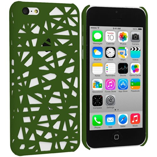 iPhone 5C Case, TechSpec(TM) Green Birds Nest Hard Rubberized Back Cover Case for Apple iPhone 5C
