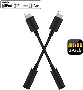 2 Pack】 Adaptador de iPhone Adaptador Jack de 3,5 mm Conector de Auriculares para iPhone 7/7 Plus/8/8 Plus/X/XS/XR/XS Max/11/11 Pro Convertidor Divisor de Audio Compatible con Todos los iOS-Negro: Amazon.es: Electrónica