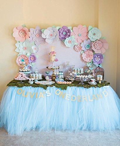 Handmade TUTU Table Skirt Tulle Tableware for Baby Shower Birthday Party Wedding Event Cake Table Girl Princess Decoration (Light Blue)