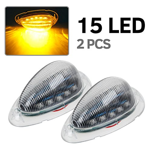 2x Clear/Amber 5-7/8″ Led Side Marker Lamp Turn Signal Teardrop Light For Freightliner 15LED