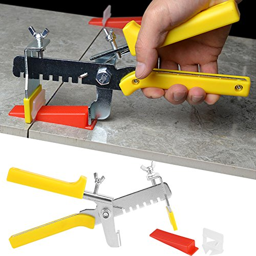 Tile Leveling System, 700 Pcs Tile Level Wedge Spacer Tile Leveling System Tools for Floor Wall Plastic, 500 Clips and 200 ()