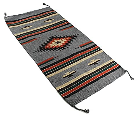 Onyx Arrow Southwest Décor Area Rug, 20 x 40 Inches, Center Diamond, Gray/Black/Multi - Cotton Indian Rug